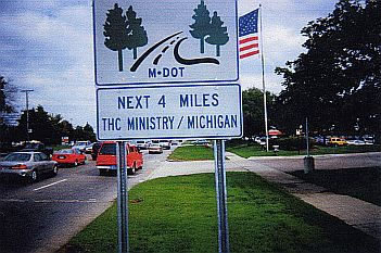 THC Ministry Michigan - Next 4 Miles Highway Sign